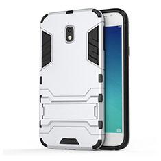 Silikon Hülle Handyhülle und Kunststoff Schutzhülle mit Ständer für Samsung Galaxy J3 Pro (2017) Weiß