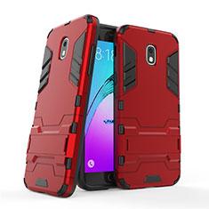 Silikon Hülle Handyhülle und Kunststoff Schutzhülle mit Ständer für Samsung Galaxy J3 Star Rot