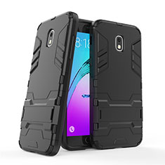 Silikon Hülle Handyhülle und Kunststoff Schutzhülle mit Ständer für Samsung Galaxy J3 Star Schwarz