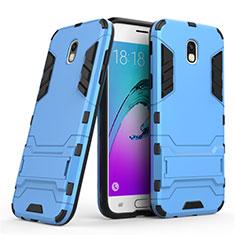 Silikon Hülle Handyhülle und Kunststoff Schutzhülle mit Ständer für Samsung Galaxy J5 (2017) SM-J750F Blau