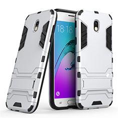 Silikon Hülle Handyhülle und Kunststoff Schutzhülle mit Ständer für Samsung Galaxy J5 (2017) SM-J750F Weiß