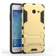 Silikon Hülle Handyhülle und Kunststoff Schutzhülle mit Ständer für Samsung Galaxy J5 (2017) Version Americaine Gold