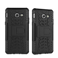Silikon Hülle Handyhülle und Kunststoff Schutzhülle mit Ständer für Samsung Galaxy J5 (2017) Version Americaine Schwarz