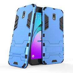 Silikon Hülle Handyhülle und Kunststoff Schutzhülle mit Ständer für Samsung Galaxy J7 (2018) J737 Blau
