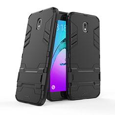 Silikon Hülle Handyhülle und Kunststoff Schutzhülle mit Ständer für Samsung Galaxy J7 (2018) J737 Schwarz