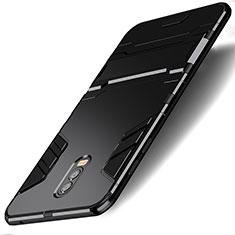 Silikon Hülle Handyhülle und Kunststoff Schutzhülle mit Ständer für Samsung Galaxy J7 Plus Schwarz