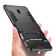 Silikon Hülle Handyhülle und Kunststoff Schutzhülle mit Ständer für Samsung Galaxy J7 Pro Schwarz