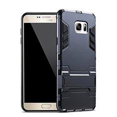 Silikon Hülle Handyhülle und Kunststoff Schutzhülle mit Ständer für Samsung Galaxy Note 5 N9200 N920 N920F Blau