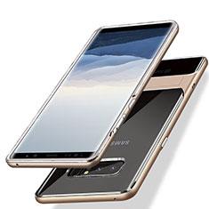 Silikon Hülle Handyhülle und Kunststoff Schutzhülle mit Ständer für Samsung Galaxy Note 8 Duos N950F Gold