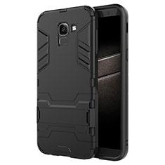 Silikon Hülle Handyhülle und Kunststoff Schutzhülle mit Ständer für Samsung Galaxy On6 (2018) J600F J600G Schwarz
