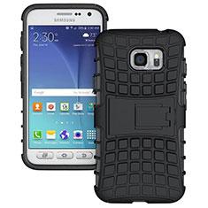 Silikon Hülle Handyhülle und Kunststoff Schutzhülle mit Ständer für Samsung Galaxy S7 Active G891A Schwarz