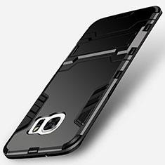 Silikon Hülle Handyhülle und Kunststoff Schutzhülle mit Ständer für Samsung Galaxy S7 Edge G935F Schwarz