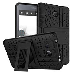 Silikon Hülle Handyhülle und Kunststoff Schutzhülle mit Ständer für Samsung Galaxy Tab A6 7.0 SM-T280 SM-T285 Schwarz