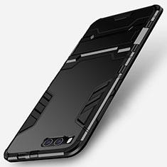 Silikon Hülle Handyhülle und Kunststoff Schutzhülle mit Ständer für Xiaomi Mi Note 3 Schwarz