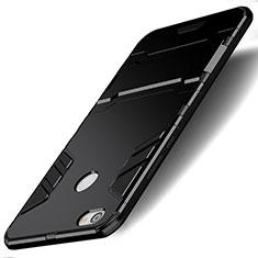 Silikon Hülle Handyhülle und Kunststoff Schutzhülle mit Ständer für Xiaomi Redmi Note 5A Pro Schwarz
