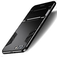 Silikon Hülle Handyhülle und Kunststoff Schutzhülle mit Ständer R01 für Huawei Honor V10 Schwarz