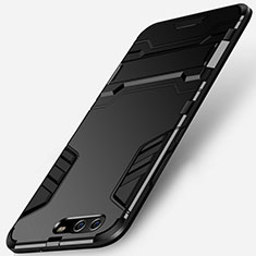 Silikon Hülle Handyhülle und Kunststoff Schutzhülle mit Ständer W01 für Huawei P10 Schwarz