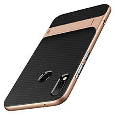 Silikon Hülle Handyhülle und Kunststoff Schutzhülle mit Ständer W01 für Huawei P20 Lite Gold und Schwarz