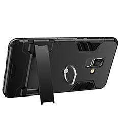 Silikon Hülle Handyhülle und Kunststoff Schutzhülle mit Ständer W01 für Samsung Galaxy A6 (2018) Dual SIM Schwarz