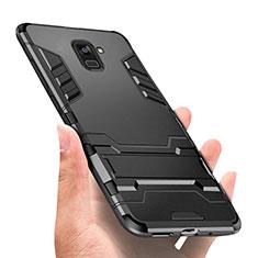 Silikon Hülle Handyhülle und Kunststoff Schutzhülle mit Ständer W01 für Samsung Galaxy A8+ A8 Plus (2018) Duos A730F Schwarz