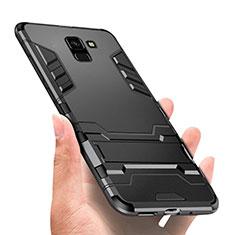 Silikon Hülle Handyhülle und Kunststoff Schutzhülle mit Ständer W01 für Samsung Galaxy J6 (2018) J600F Schwarz
