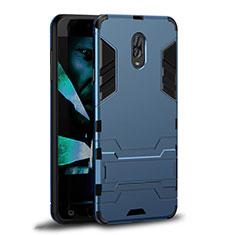 Silikon Hülle Handyhülle und Kunststoff Schutzhülle mit Ständer W01 für Samsung Galaxy J7 Plus Cyan