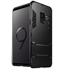 Silikon Hülle Handyhülle und Kunststoff Schutzhülle mit Ständer W01 für Samsung Galaxy S9 Schwarz