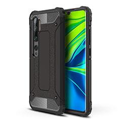 Silikon Hülle Handyhülle und Kunststoff Schutzhülle Tasche für Xiaomi Mi Note 10 Pro Schwarz