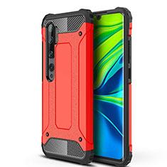 Silikon Hülle Handyhülle und Kunststoff Schutzhülle Tasche für Xiaomi Mi Note 10 Rot
