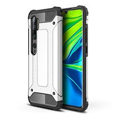 Silikon Hülle Handyhülle und Kunststoff Schutzhülle Tasche für Xiaomi Mi Note 10 Weiß