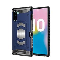 Silikon Hülle Handyhülle und Kunststoff Schutzhülle Tasche Magnetisch für Samsung Galaxy Note 10 Blau