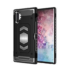 Silikon Hülle Handyhülle und Kunststoff Schutzhülle Tasche Magnetisch für Samsung Galaxy Note 10 Plus Schwarz
