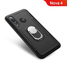 Silikon Hülle Handyhülle und Kunststoff Schutzhülle Tasche mit Fingerring Ständer A01 für Huawei Nova 4 Schwarz