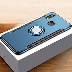 Silikon Hülle Handyhülle und Kunststoff Schutzhülle Tasche mit Fingerring Ständer für Huawei Honor 10 Lite Blau