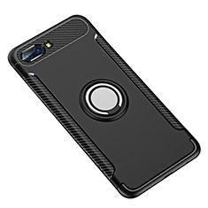 Silikon Hülle Handyhülle und Kunststoff Schutzhülle Tasche mit Fingerring Ständer für Huawei Honor 10 Schwarz