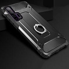 Silikon Hülle Handyhülle und Kunststoff Schutzhülle Tasche mit Fingerring Ständer für Huawei Honor 20 Pro Schwarz