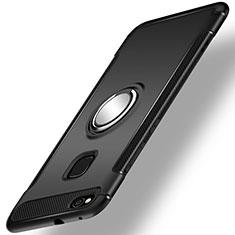 Silikon Hülle Handyhülle und Kunststoff Schutzhülle Tasche mit Fingerring Ständer für Huawei Honor 8 Lite Schwarz