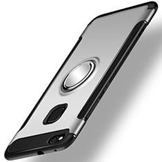 Silikon Hülle Handyhülle und Kunststoff Schutzhülle Tasche mit Fingerring Ständer für Huawei Honor 8 Lite Silber