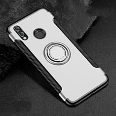 Silikon Hülle Handyhülle und Kunststoff Schutzhülle Tasche mit Fingerring Ständer für Huawei Honor 8X Weiß
