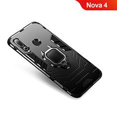 Silikon Hülle Handyhülle und Kunststoff Schutzhülle Tasche mit Fingerring Ständer für Huawei Nova 4 Schwarz