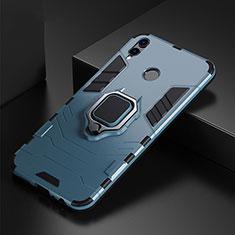 Silikon Hülle Handyhülle und Kunststoff Schutzhülle Tasche mit Fingerring Ständer für Huawei P Smart (2019) Blau