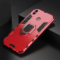 Silikon Hülle Handyhülle und Kunststoff Schutzhülle Tasche mit Fingerring Ständer für Huawei P Smart (2019) Rot