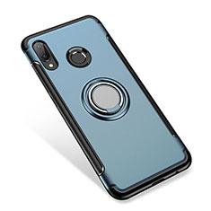 Silikon Hülle Handyhülle und Kunststoff Schutzhülle Tasche mit Fingerring Ständer für Huawei P Smart+ Plus Blau