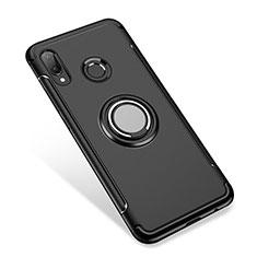 Silikon Hülle Handyhülle und Kunststoff Schutzhülle Tasche mit Fingerring Ständer für Huawei P Smart+ Plus Schwarz