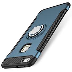 Silikon Hülle Handyhülle und Kunststoff Schutzhülle Tasche mit Fingerring Ständer für Huawei P10 Lite Blau