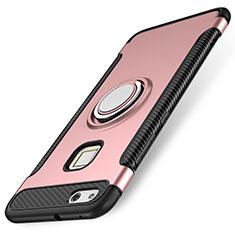 Silikon Hülle Handyhülle und Kunststoff Schutzhülle Tasche mit Fingerring Ständer für Huawei P10 Lite Rosegold