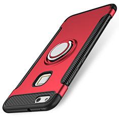 Silikon Hülle Handyhülle und Kunststoff Schutzhülle Tasche mit Fingerring Ständer für Huawei P10 Lite Rot