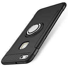 Silikon Hülle Handyhülle und Kunststoff Schutzhülle Tasche mit Fingerring Ständer für Huawei P10 Lite Schwarz