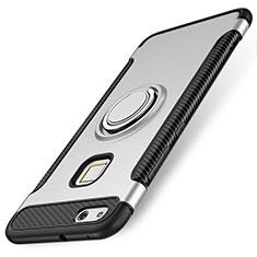 Silikon Hülle Handyhülle und Kunststoff Schutzhülle Tasche mit Fingerring Ständer für Huawei P10 Lite Silber