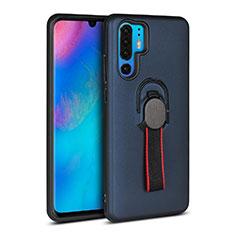 Silikon Hülle Handyhülle und Kunststoff Schutzhülle Tasche mit Fingerring Ständer für Huawei P30 Pro Blau